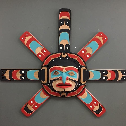 NORTHWEST COAST First Nations 5' Hawkman Sun Mask by Trevor Hunt & Jay Brabant