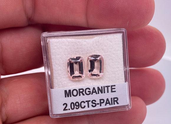 Loose- 2.09ct Pair of Natural Light Pink Morganite, VVS Clarity, Cushion Sh
