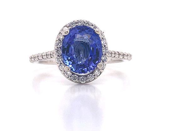New: 14k White Gold 2.19ct Tanzanite & Diamond Ring Appraised $3290