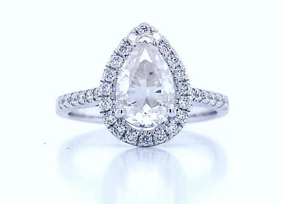New: 14k White Gold 1.35ct Pear Shaped Moissanite & Diamond Ring