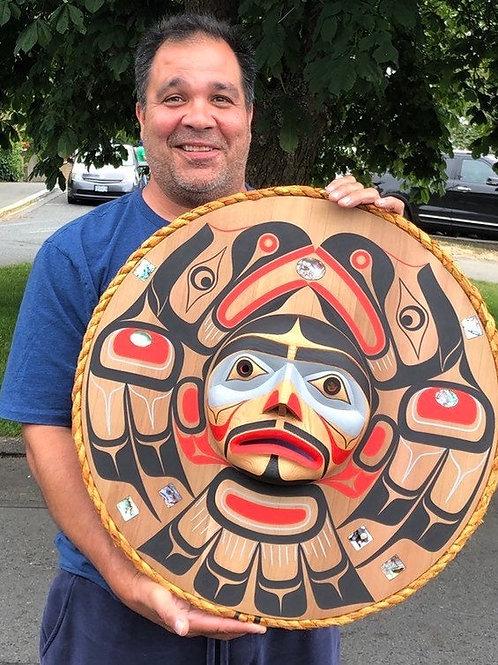 "NORTHWEST COAST First Nations 23"" Kwagiulth Raven Moon Mask by Jay Brabant"