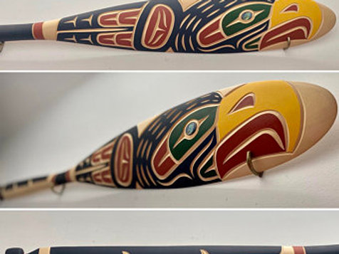 NORTHWEST COAST First Nations 5ft Paddle, Oar by Harvey John, Nuu-chah-nulth