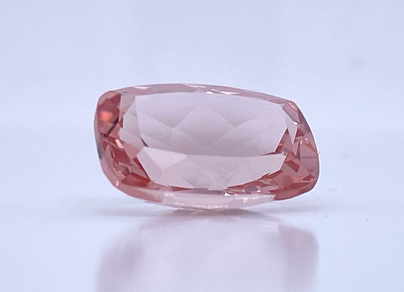 Loose- 6.39ct Natural Peachy Pink Morganite, VVS Clarity, Cushion Cut