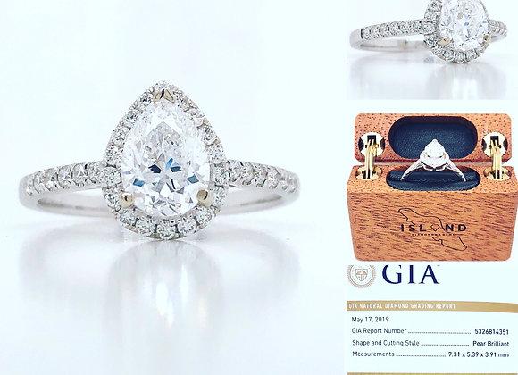 18k White Gold 1.30 ct Diamond Ring Appraised $13,310