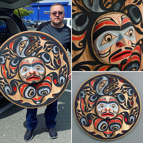 "NORTHWEST COAST First Nations 36"" Bear Moon Mask by Trevor Hunt & Jay Brabant"