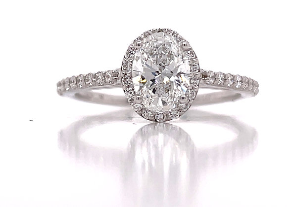 14k White Gold 1ct Lab Grown Oval Cut Diamond Engagement Ring