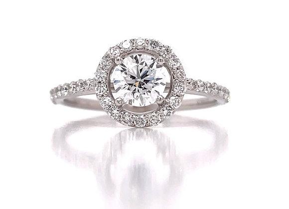 New: 14k White Gold 0.97tcw Lab Grown Diamond Halo Engagement Ring