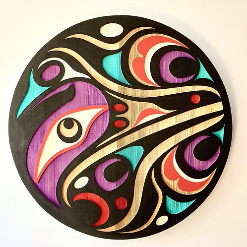 "NORTHWEST COAST First Nations 24"" Sandblasted Hummingbird Panel"