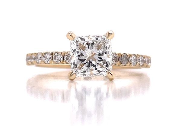 New: 14k Yellow Gold 1.69 tcw Princess Cut Lab Grown Diamond Ring