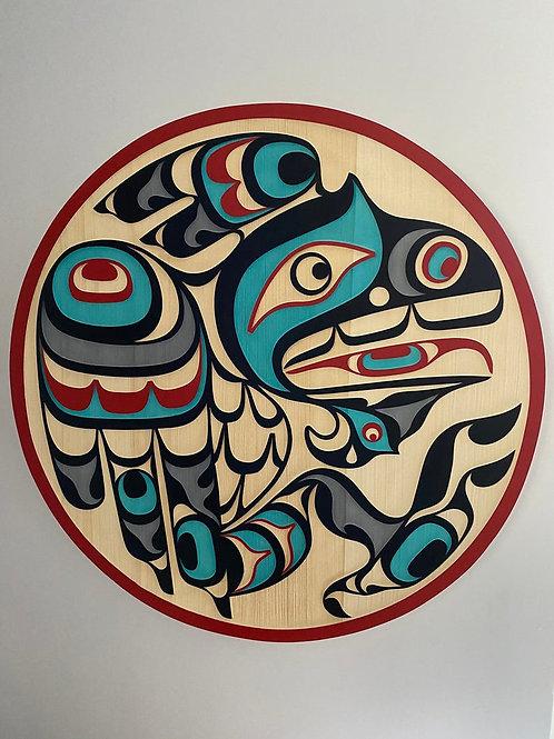 "NORTHWEST COAST First Nations 36"" Sandblasted Cedar Raven Panel by Trevor Hunt"