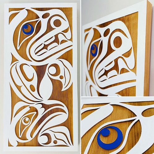 "CUSTOM ORDER First Nations Indigenous 36"" x 18"" Sandblasted BEAR Panel"