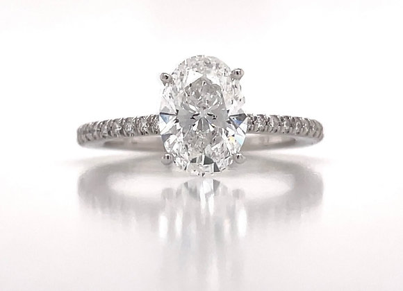 14k White Gold 0.77tcw Lab Grown Oval Cut Diamond Engagement Ring