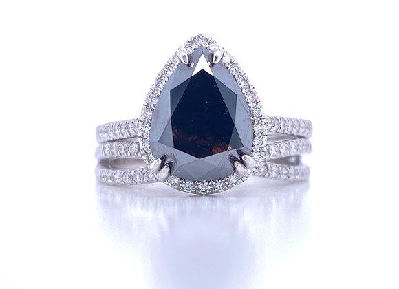 New: 14k White Gold 2.99ct Pear Shape Black Diamond Appraised $3640
