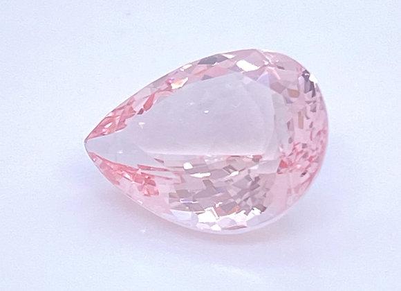 Loose- 6.89ct Natural Baby Pink Morganite, VVS Clarity, Pear Shape (14 x 12mm)
