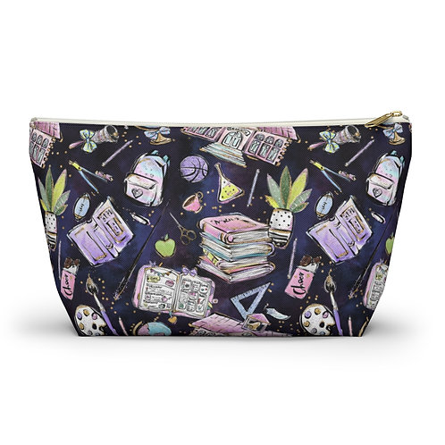 Navy Back to School Pencil Case, Teacher, Student Accessory Pouch w T-bottom