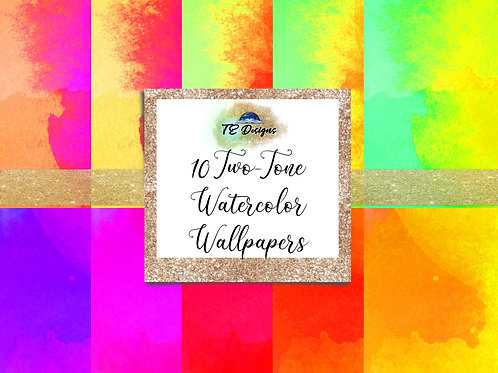 Neon Vibrant Two-tone watercolour Wallpapers