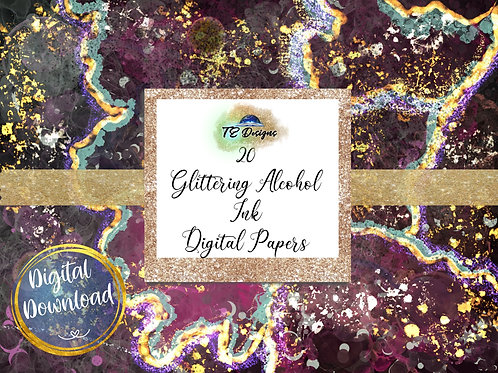 Glittery Alcohol Inks digital papers