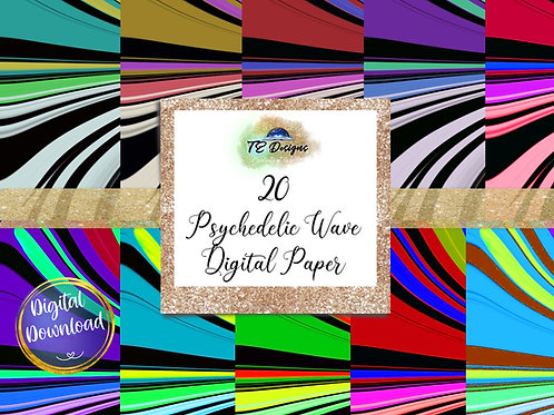 Psychedelic Wave Digital Papers