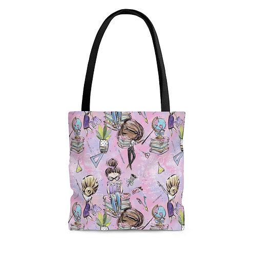 Pink Teacher Bag, Back to School, Teacher Bag AOP Tote Bag
