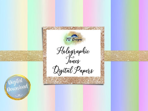 Holographic Tones Backgrounds Digital Papers