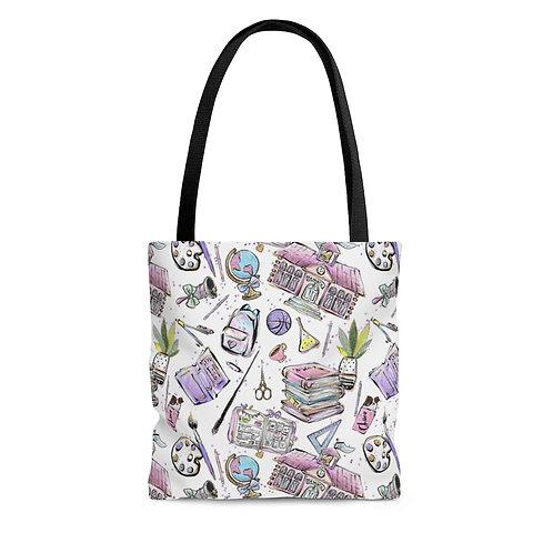 White Teacher Bag, Back to School, Teacher Bag AOP Tote Bag