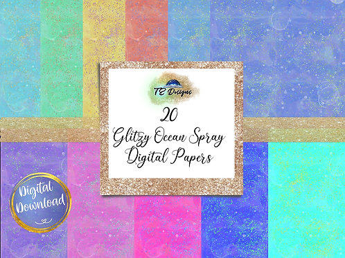 Abstract Glitzy  Ocean Spray Digital Papers