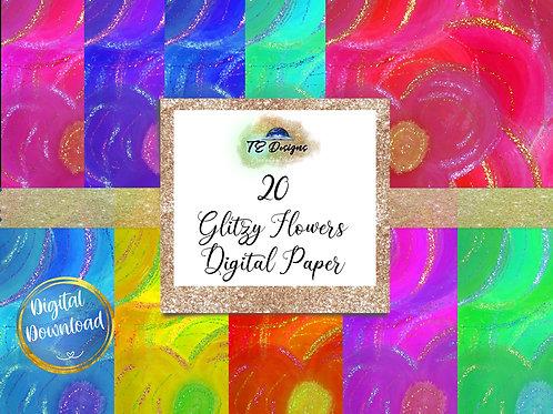 Glitzy Flowers Digital Papers
