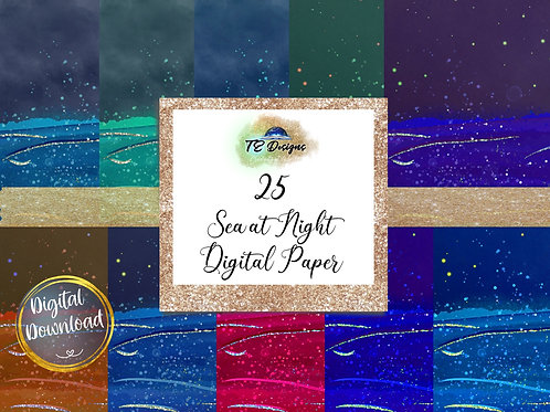 Sea at Night Digital Papers