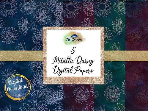 Metallic Daisey Backgrounds Digital Papers