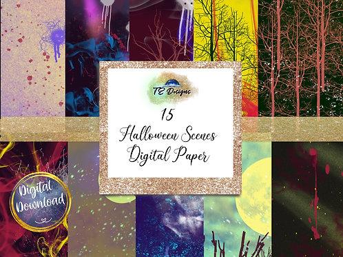 Halloween Scenes Digital Papers