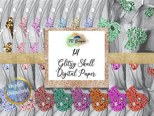 Glitter Skull digital papers