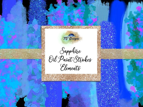 Sapphire Oil Paint Strokes Clipart Element for Commercial use