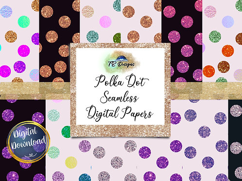 Polka Dot Seamless 12x12 Digital Papers - Commercial use