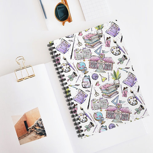 White Back to School Spiral Notebook - Ruled Line