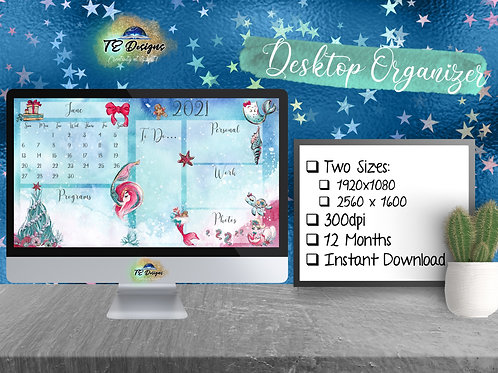 Mermaid Christmas Desktop Organizer