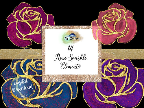 Rose Sparkle Clipart with bonus background