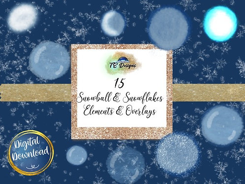 Snowball and Snowflakes Elements Clipart
