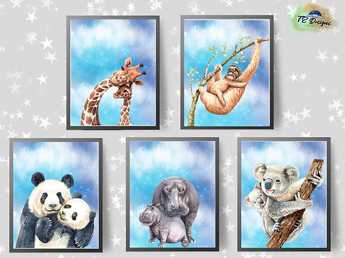 Cute Mother & Baby Animals Print
