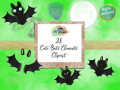 Cute Bats, Halloween,  Spooky, Cute Elements Clipart