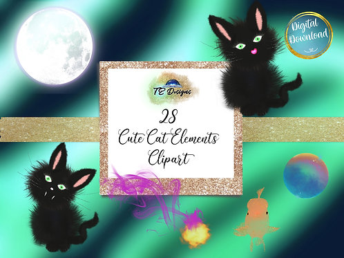 Cute Cats, Halloween,  Spooky, Cute Elements Clipart