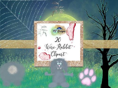 20 Halloween Spooky Were Rabbit Cute Elements Clipart