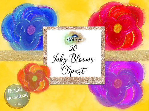 Inky Blooms Floral  Clipart
