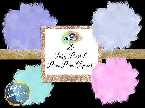 Pastel Fur Pom Pom Clipart with bonus background