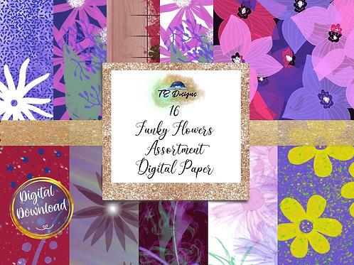 Funky Flowers digital papers