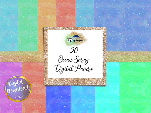 Abstract Ocean Spray Digital Papers