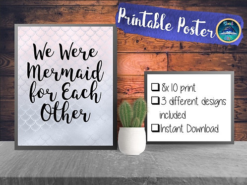 Mermaid for each other Print| Mermaid Print|