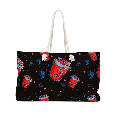 Black and Red I Love Coffee Collection Teacher Bag