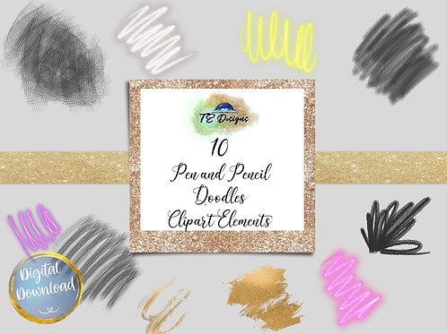 Pen and Pencil Doodles Elements Clipart