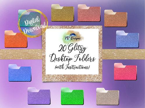Glitzy Glitter Folders Desktop Folders