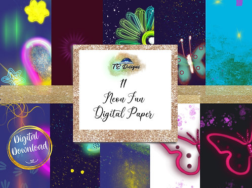 Neon Fun digital papers
